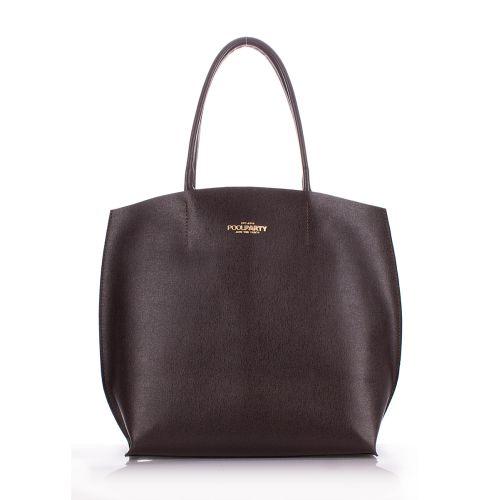 Женская кожаная сумка Poolparty pearl-brown коричневая